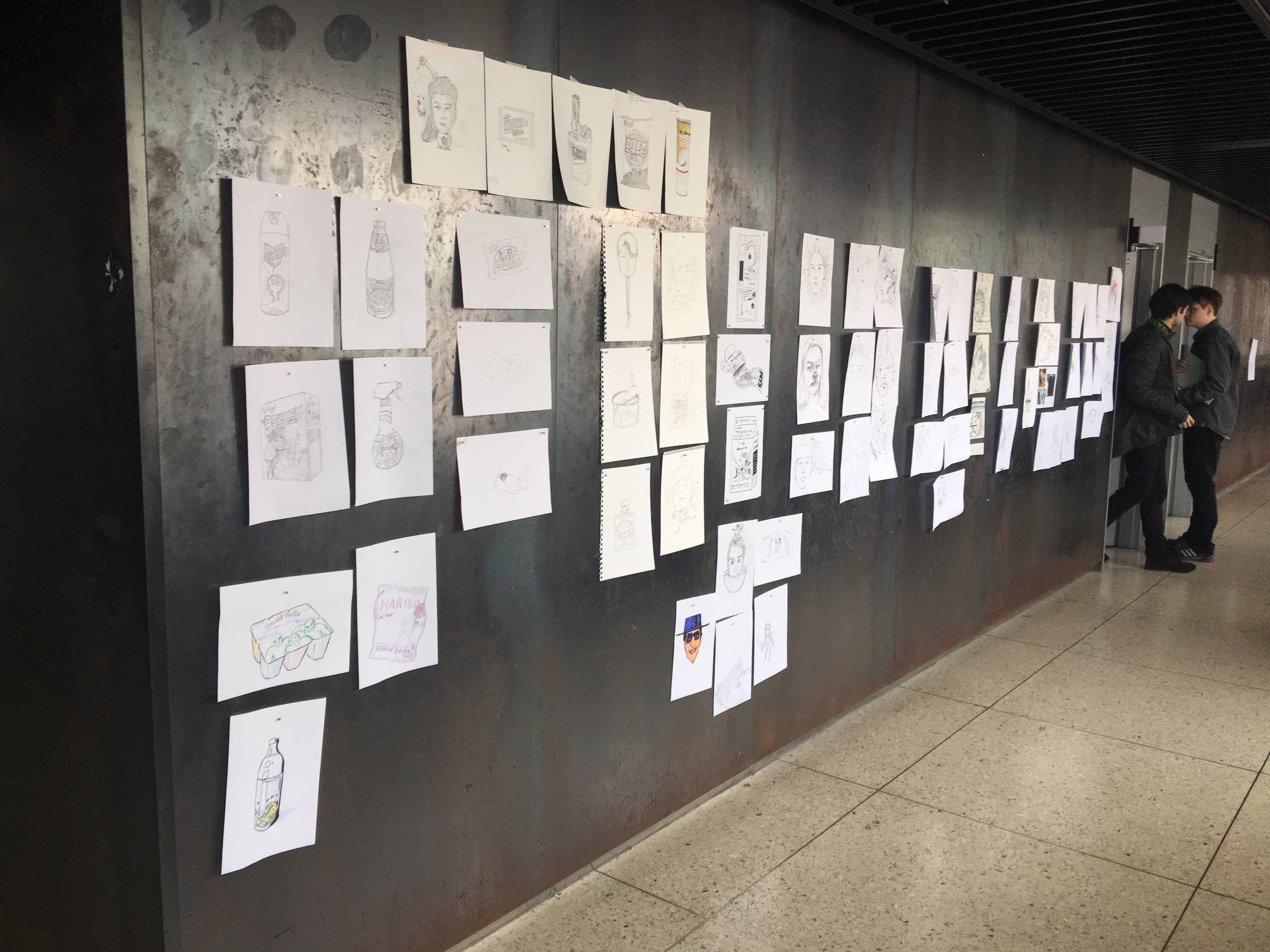 At Kookmin Univ. -Sketch Wall Critique (Those two are my foreign students from Europe.)